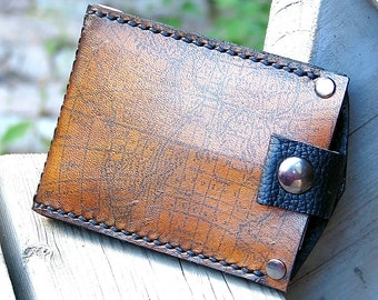 Men's Hand Stiched Brown Leather Snap Wallet - Money Clip, Billfold, Bifold - Old World Map - MADE to ORDER