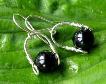 Black onyx earrings - Sterling silver wire wrapped bead stirrup