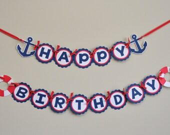Nautical Birthday Banner, Nautical Party Banner, Nautical Happy Birthday