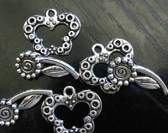 3 connectors clasps in the shape of heart 18 mm x 20 mm antique silver veuillit