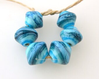 Glass Lampwork Beads Bicone Set - SEA WAVES Graduated Handmade - TANERES Turquoise Blue
