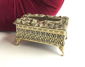 Vintage Ornate Kleenex Package Holder, Miniature Kleenex Holder For Vanity, Mid-Century