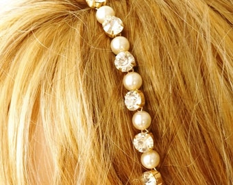 Bridal Headband, Bridal Wedding Headband,  Rhinestone and Pearl Crown, Wedding Trends Hair Holo