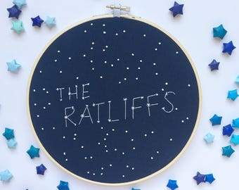 Custom constellation embroidery hoop - last name sign - last name embroidery hoop - constellation art - personalized gifts - gifts under 25