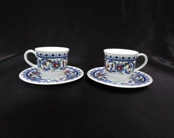 Vintage Kutahya Turkish Espresso Demitasse Coffee Cup and Saucer Pairing Teacup and Saucer Sema Porselen Made in Turkey Set of 2 Tea Cup