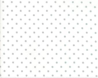 White with Metallic Silver Dot - Vintage Holiday - Bonnie and Camille - Moda Fabrics - 55162 18M -  Polka Dot Fabric - Christmas Fabric