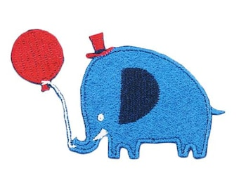 208720 blue elephant red hat balloon iron-on transfer sheet 1 piece
