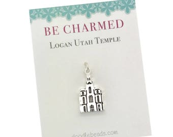 Logan Temple, LDS Temple charm, Logan Utah Mormon Temple charms, LDS Wedding, Temple charm bracelet, temple Necklace or temple keyring charm