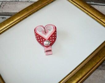 Hearts hair clip with polka dots