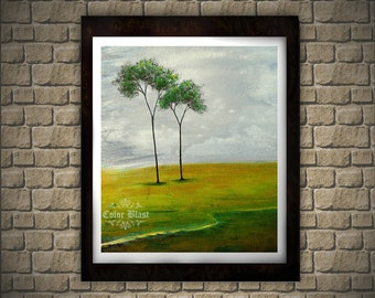 Just us- Abstract Landscape/ Floral Art Print. Yellow green decor. Free Shipping inside US.