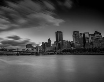 Pittsburgh from North Shore, Pittsburgh Art, Fine Art Black and White Photography, Pittsburgh decor