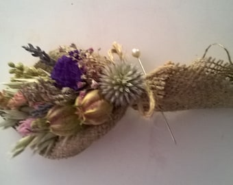 Beautiful Bespoke Hessian Wrapped Wedding Buttonholes. Made from dried flowers and grasses, rustic, vintage, country, barn, twine, boho