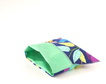 Reusable sandwich and snack bag, bright boho floral print, eco-friendly lunch