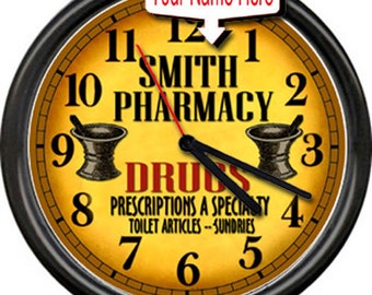 Pharmacy Pharmacist Vintage Retro Drug Store RX  Personallized Sign Wall Clock