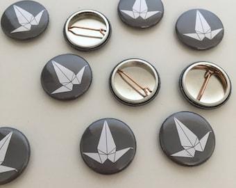 Origami Peace Crane 1 inch Badge
