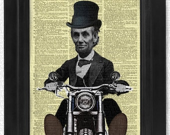 President Abraham Lincoln on Chopper on art dictionary page illustration book print