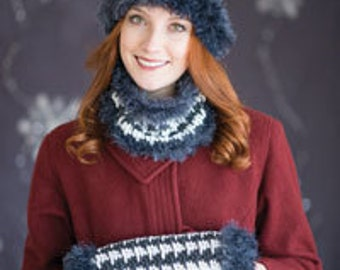 Houndstooth Trio - Ladies Hat, Cowl, Muff - CROCHET PATTERN