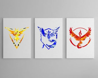 Original Art by The Geek Gallery - The Pokemon Collection - Instinct, Mystic & Valor - Wall Canvas