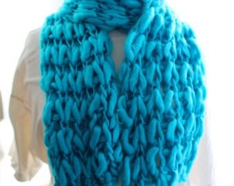 Blue felted wool scarf