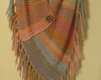 Varigated Hand Knit Poncho with Button