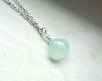 Aqua Chalcedon Silber Kette Halskette 17 Zoll Größe verstellbar