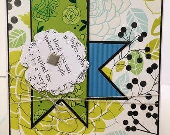 3D Book Page Handmade Flower Blue Green Black White Silver Birthday Card