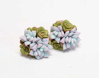 Mint green Succulent Earrings. Clay succulent Stud earrings. Polymer clay jewelry. Cactus Plant Earrings Post. Wedding Succulent Jewelry