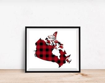 Canada Buffalo Plaid -  8x10 Canada print, Canada wall art, Canada printable,  8x10 printable art, buffalo plaid, home decor, dorm decor
