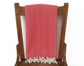 Tagesdecke Pestemal Sofa Throw Decke türkische Handtuch Strand Decke Schal handgewebte Baumwolle türkisches Bad Handtuch Fouta Tuch ROT CHEVRON LALE