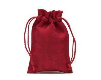 Semi Linen Red Gift Christmas Bag, Linen Bag Stars, 2 sizes available, 1pcs