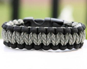 Paracord Survival Bracelet - Black and ACU Camo