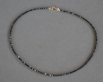 Black Spinel Necklace with 14k yellow gold clasp, Faceted Spinel Necklace