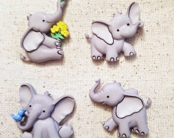 Cute elephant magnets, cute elephant pushpins, cute magnets, geoswag, geocache, bulletin board, fridge magnets, photoboard