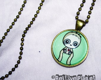"""Happy Sloth 1"""" Pendant Necklace - or 2 for 20 - Positive - ReLove Plan.et"""