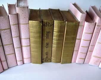 Wedding Table Decor, Gold and Pink Books, Pink Painted Books, Gold Painted Books, Beach Wedding, Wedding Decor, Fairytale Wedding, Painted