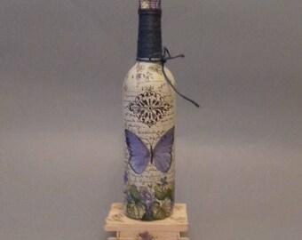 Blue Butterfly Bottle Lamp
