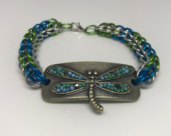 Dragonfly Full Persian Chainmaille Green Blu  and Silver Bracelet