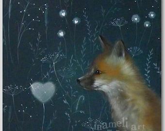 Fox art fox print fox decor fox painting fox art print fox illustration  fox wall art dreamy fox art Forest Animal Woodlands Fox Print