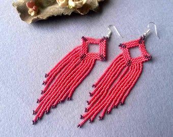 Pink Fringe Earrings, Long Fringe Earrings, Boho Fringe Earrings, Beaded Fringe Earrings, Statement Earrings, Boho Jewelry Earrings