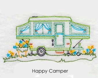 Happy Camper Tea Towel | RV Embroidered Kitchen Towel | Embroidered Towel | Personalized Kitchen Towel | Embroidered Tea Towel | Hand Towel