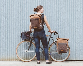 Convertible backpack pannier, waxed canvas bicycle bag -- brown