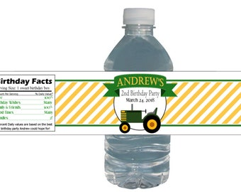Tractor Birthday Party Waterproof Bottle Labels Customized Birthday Party Baby Shower