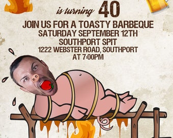 Roast and Toast Birthday Invitation, Adult 21st 30th 40th 50th 60th,Male funny birthday invitation, Beers and Cheers, saloon, caricature