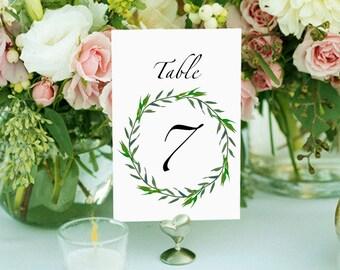 Printable table numbers, wedding table numbers, 1-20,  laurel wreath table numbers, greenery wedding table numbers, digital download