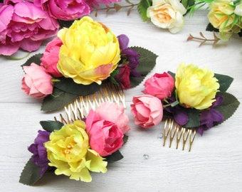 Flower comb bridal Rustic flower clip Woodland comb bride Hair peony Comb wedding bride Set wedding comb Girl gift comb Flower girl peony