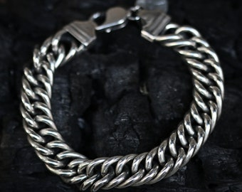 Sterling Silver Double Round Chain Link Bracelet