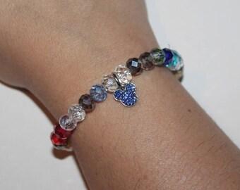 Blue Mickey charm rainbow crystal bead stretch bracelet