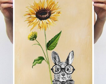 Rabbit Print, Rabbit Art Print, Rabbit Bunny Print, Rabbit Art, Bunny Print, Rabbit Wall Art, Orange, Rabbit Artwork, Wall Art,Nursery Decor