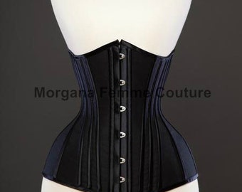 READY TO WEAR- size 18 to 26 inch Matte Black longline underbust corset