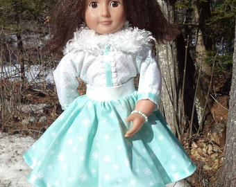 "18"" mint and white doll dress with faux fur trim, pleather belt, white with mint snowflakes bodice, mint with white snowflakes skirt, Velcro"